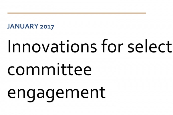 Innovations for select committee engagement